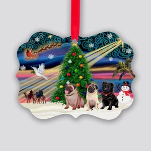 Xmas Magic & 3 Pugs 1b,2f Picture Ornament