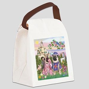 TILE-SirPug-Princess-Castle Canvas Lunch Bag
