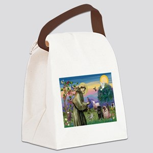 Saint Francis & Two Pugs Canvas Lunch Bag