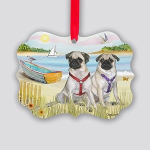 Rowboat / Two Fawn Pugs Picture Ornament