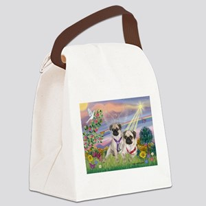 Cloud Angel - 2 Pugs Canvas Lunch Bag