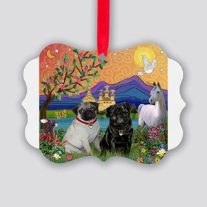 Fantasy Land / Two Pugs Picture Ornament