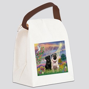 3-TILE- CloudStar-Pug13-Fawn2 Canvas Lunch Bag