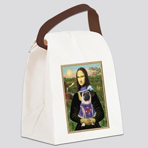 Mona Lisa & Sir Pug Canvas Lunch Bag