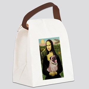 Mona Lisa Fawn Pug Canvas Lunch Bag