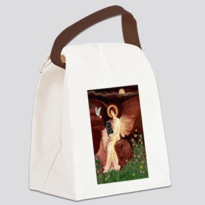 Seated Angel /Pug (blk) Canvas Lunch Bag