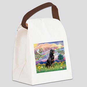 Cloud Angel & Rottweiler Canvas Lunch Bag