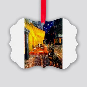Cafe with Rottie Picture Ornament