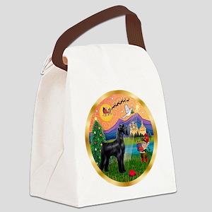 Xmas Fantasy/Schnauzer (G) Canvas Lunch Bag