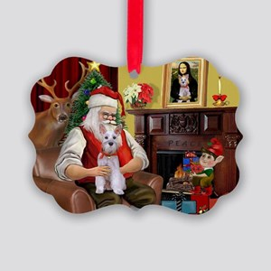 Santa's Schnauzer (9) Picture Ornament