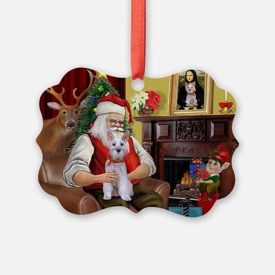 Santa's Schnauzer (9) Ornament