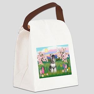 Blossoms / Min Schnauzer Canvas Lunch Bag