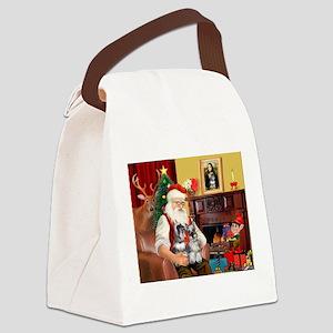 Santa's 2 Schnauzers Canvas Lunch Bag