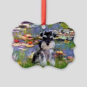 TILE-Lilies2-SchnauzerZZ-Nat Picture Ornament