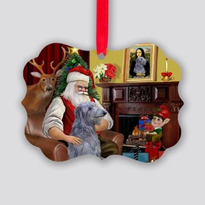 Santa's Deerhound Picture Ornament