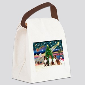 Xmas Magic/3 Shelties (T3) Canvas Lunch Bag