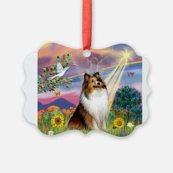 Cloud Angel Sheltie Ornament