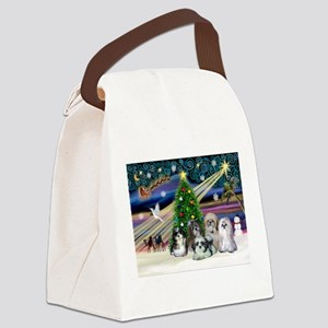 Xmas Magic/5 Shih Tzus Canvas Lunch Bag