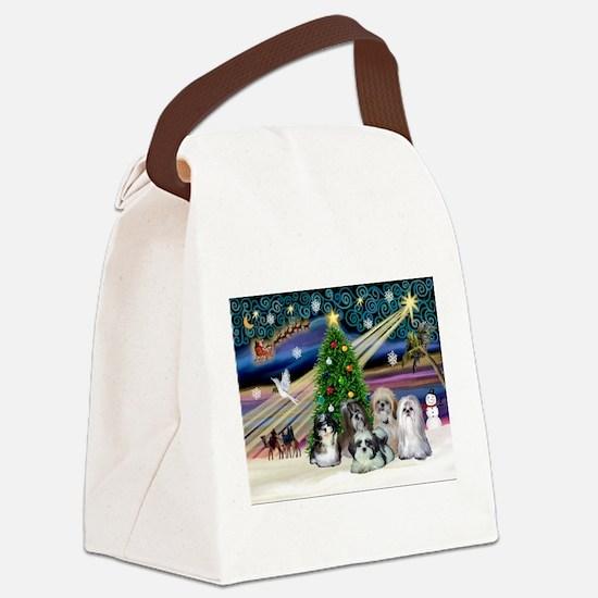 Xmas Magic/5 Shih Tzus Canvas Lunch Bag