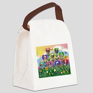 Shih Tzu Heart Garden Canvas Lunch Bag
