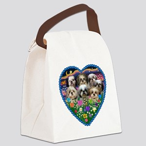 ORN-HEART-Gardn2-7ShihTzus Canvas Lunch Bag