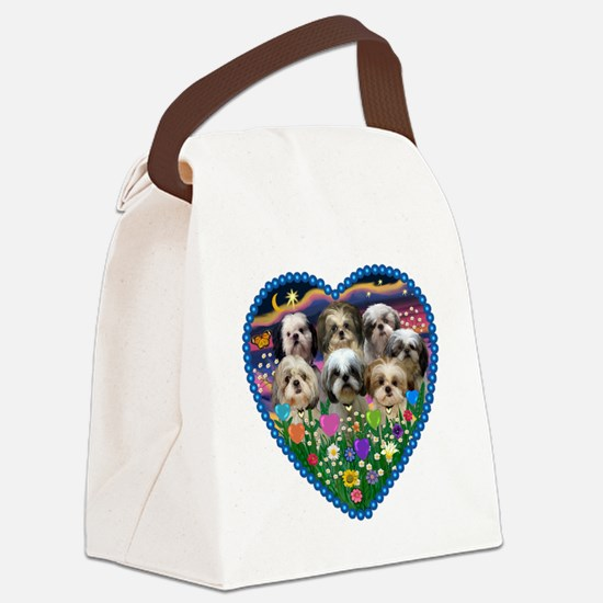 ORN-HEART-Gardn2-7ShihTzus.png Canvas Lunch Bag