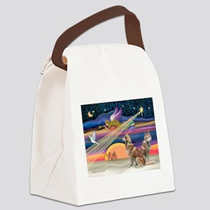 XmasStar/2 Red Huskies Canvas Lunch Bag