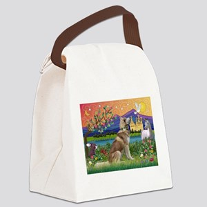 TILE-Fantasy-SibHusky-Red1 Canvas Lunch Bag