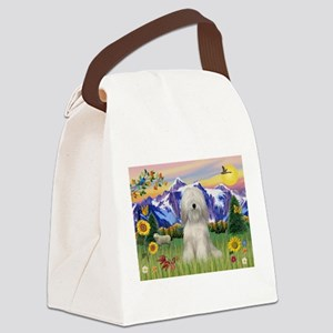 Tibetan Terrier in Mt. Countr Canvas Lunch Bag