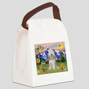 Tibetan Terrier in Mt. Countr Canvas Lunch Bag