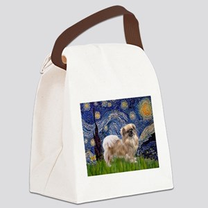 Starry Night Tibetan Spaniel Canvas Lunch Bag