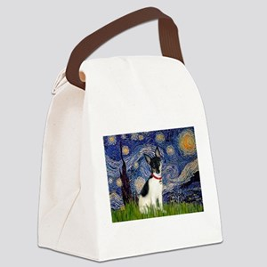 Starry Night & Toy Fox Terrie Canvas Lunch Bag