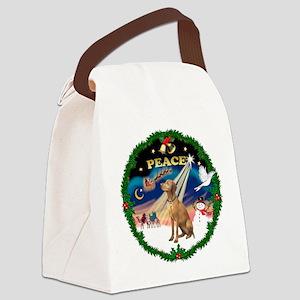XmasSunrise/Vizsla Canvas Lunch Bag