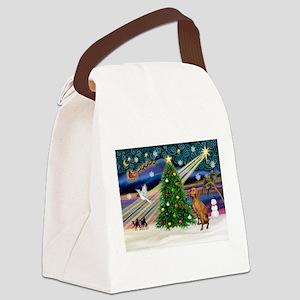 Xmas Magic & Vizsla Canvas Lunch Bag