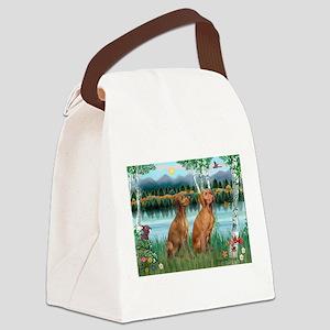 Birches / Vizsla pair Canvas Lunch Bag