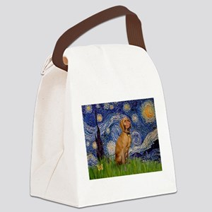 Starry Night & Vizsla Canvas Lunch Bag