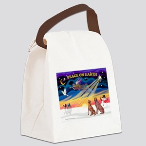 XmasSunrise/2 Weimaraners Canvas Lunch Bag
