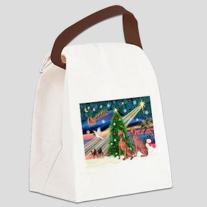 Xmas Magic & Weimaraner Canvas Lunch Bag