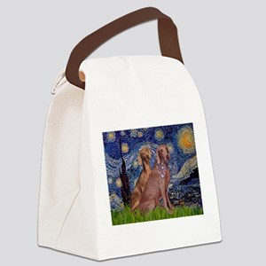 Starry Night Weimaraners Canvas Lunch Bag