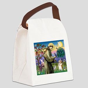 St Francis /Welsh Corgi (p) Canvas Lunch Bag