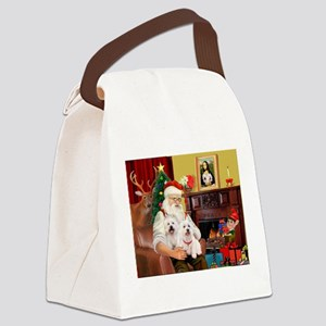 Santa/2 West Highland Canvas Lunch Bag
