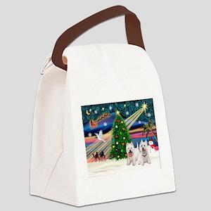 Xmas Magic & 2 Westies Canvas Lunch Bag