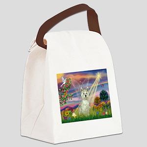 Cloud Angel / Westie Canvas Lunch Bag