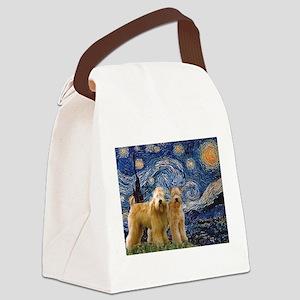 TILE-Starrynight-WheatenPair Canvas Lunch Bag
