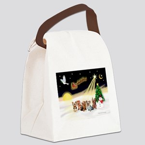 Night Flight/5 Yorkies Canvas Lunch Bag