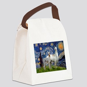 Starry Night Llama Duo Canvas Lunch Bag