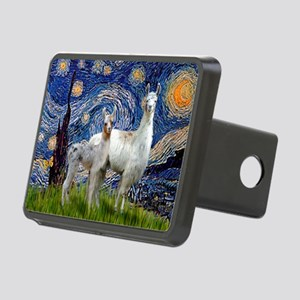 Starry Night Llama Duo Rectangular Hitch Cover
