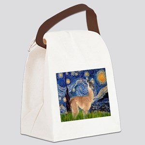 Starry Night Llama Canvas Lunch Bag