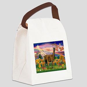 Autumn Angel & Llama Canvas Lunch Bag