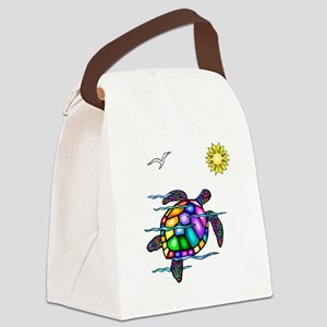 Sea Turtle 1 - with waves Canvas Lunch Bag